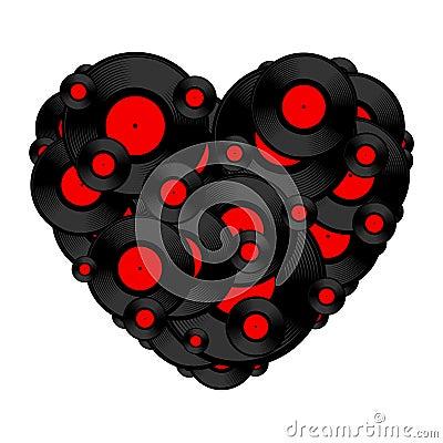 Vinyl record heart
