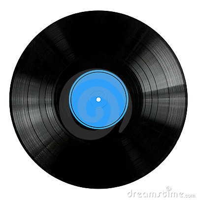 Free Vinyl Record With Blue Label Stock Photo - 4246970