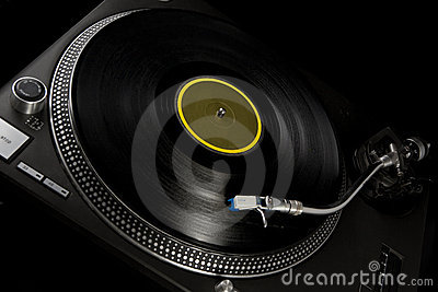 Vinyl turntable on black