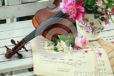 Violín, notas y ramo antiguos del resorte