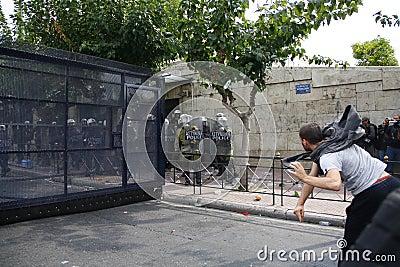 Violent clashes during Merkel visit in Athens Editorial Stock Image
