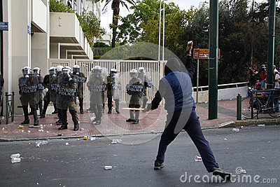 Violent clashes during Merkel visit in Athens Editorial Photo