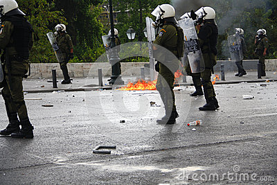 Violent clashes during Merkel visit in Athens Editorial Photo