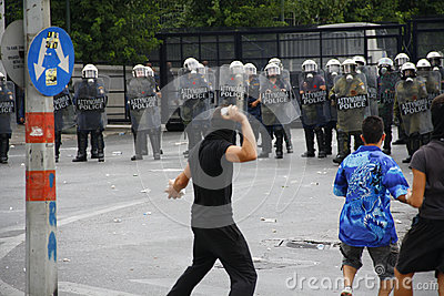 Violent clashes during Merkel visit in Athens Editorial Stock Photo