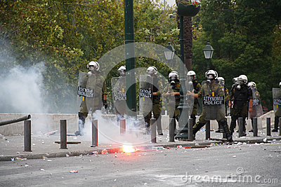 Violent clashes during Merkel visit in Athens Editorial Photography