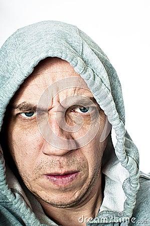 Violent hooded thug