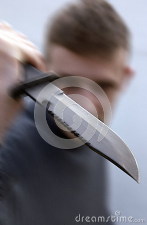 Violent Knife Attack (with action blur)