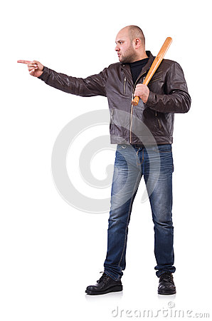 Violent man with baseball bat