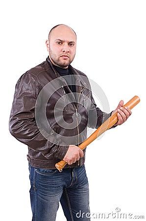 Violent man with baseball bat