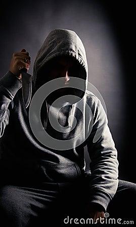 Violent man hoilding a knife