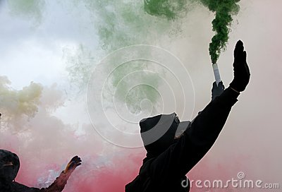 Violent protest with protesters Editorial Stock Photo