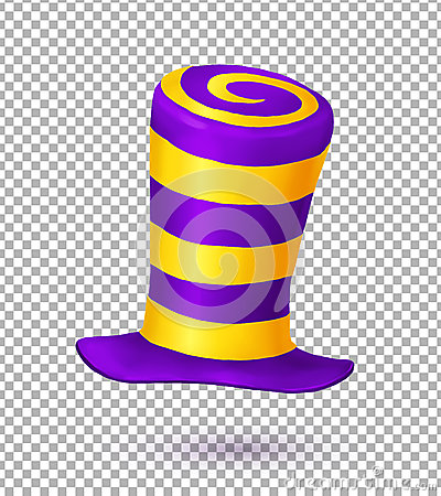 Free Violet And Yellow Colors Striped Realistic Vector Carnival Hat Royalty Free Stock Images - 78085879