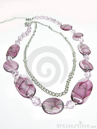 Violet beads with silvery chain