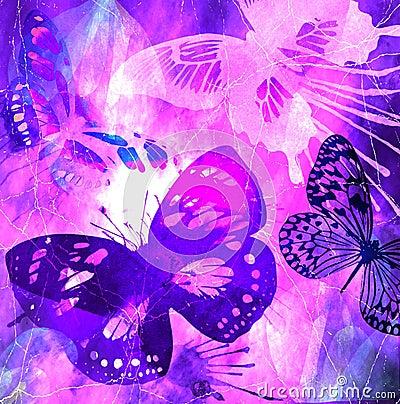 Violet Butterfly Grunge