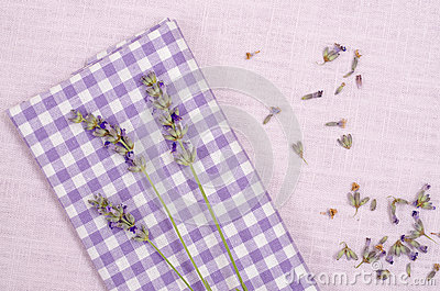 Violet checkered cloth with lavender