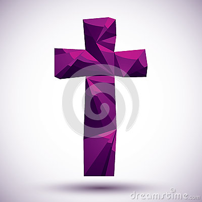 Violet cross geometric icon made in 3d modern style, best for us