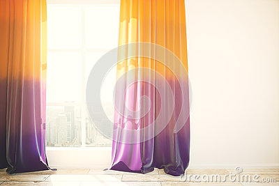 Window And Curtains In Bright Interior Stock Vector - Image: 53165912