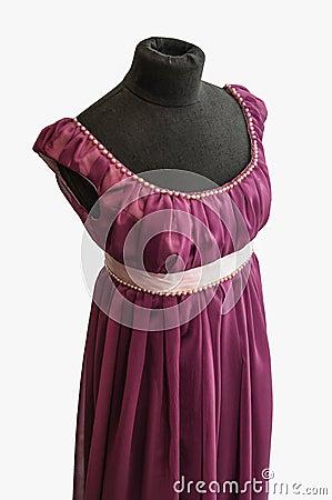 Violet dress on tailor s dummy