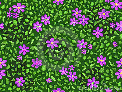 Violet flower and green leaf pattern