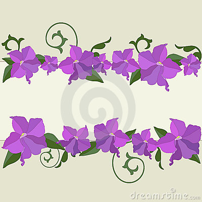 Violet flowers and ornate frame background.