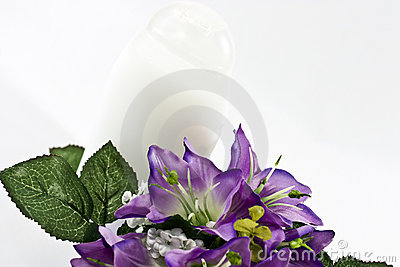 silk flowers and  bottle