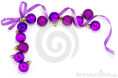 Violet frame with xmas balls