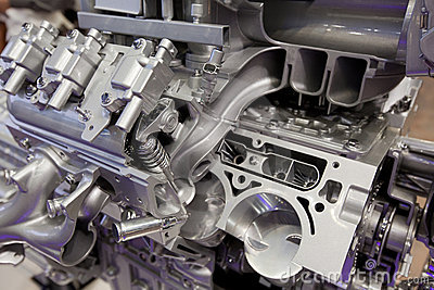 Violet glares on mighty ultramodern engine