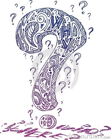Violet interrogation mark vector