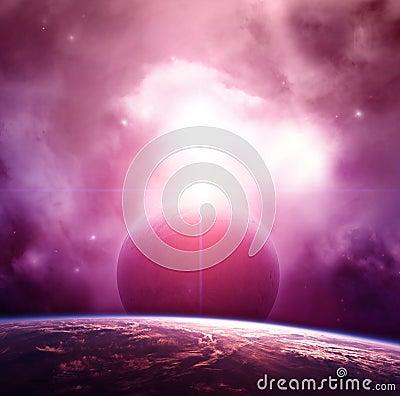 Violet Nebula with Planets