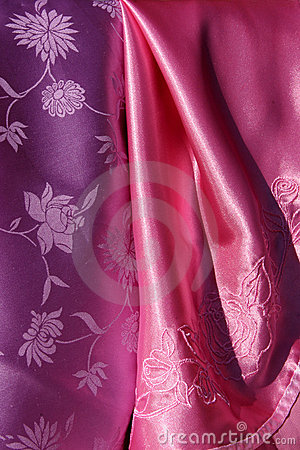 Violet and Pink Silky Fabric