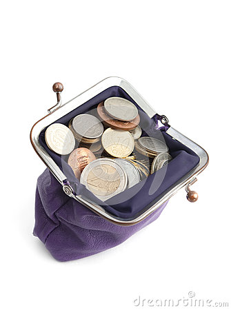 Free Violet Purse Is Full Of Coins Royalty Free Stock Photos - 25804818