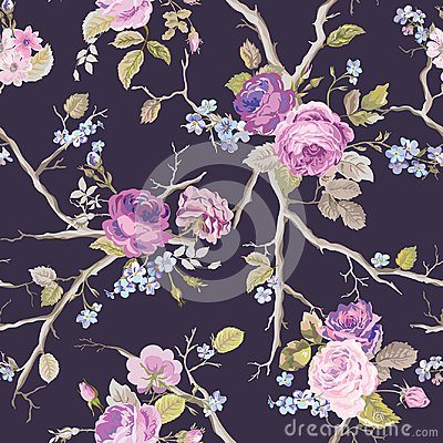 Free Violet Roses Flowers Texture Background. Seamless Floral Pattern Stock Image - 102332781