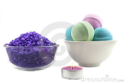 Violet  salt wiih candle and bath balls