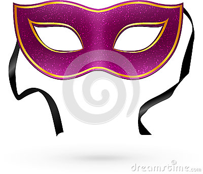Violet vector carnival mask with ribbons