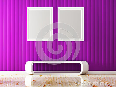 Violet wall color and white frame decorate