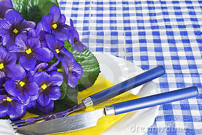 Violets on a plate