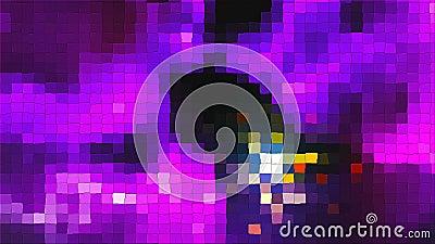 Violettes Mosaik mit grellem Effekt und quadratischen Partikeln, computererzeugter abstrakter Digitaltechnikhintergrund, 3d stock footage
