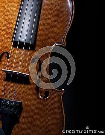 Violin on black close up