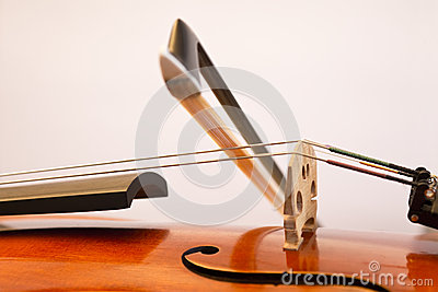 Violin bow on the string