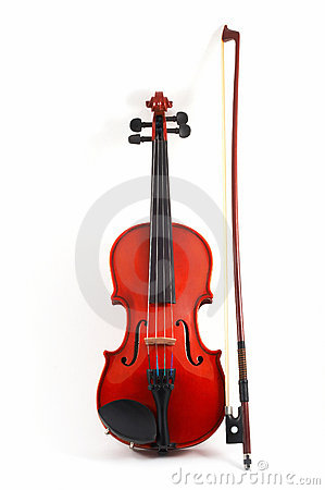 Violin with bow upright on whi