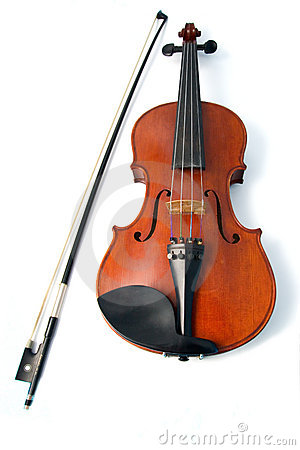 Violin and bow in white background
