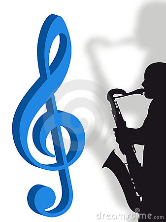 Violin clef and saxophonist