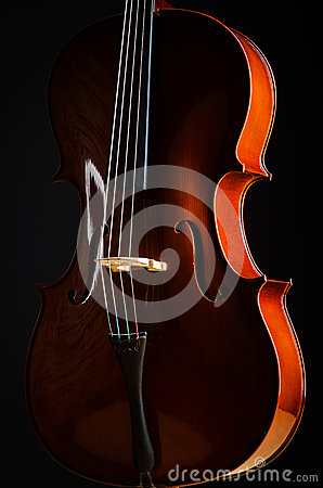 Violin in dark room