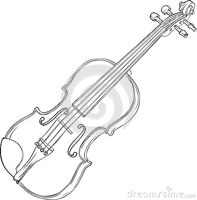 Contour Vector Drawing Illustration of Violin.