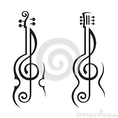 Violin, guitar and treble clef