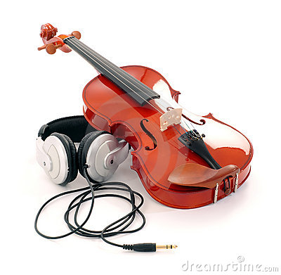 Violin and headphones
