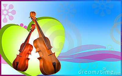 Violin  and heart  background