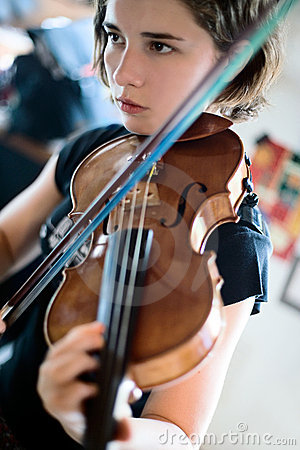 Violin Lesson Or Practice Stock Image - Image: 3841641