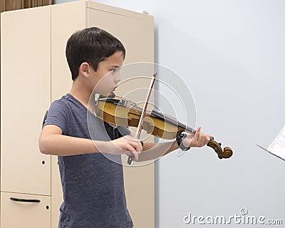 A violin lesson Stock Photo