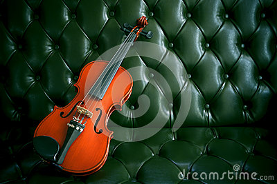 Violin on luxury green  leather sofa
